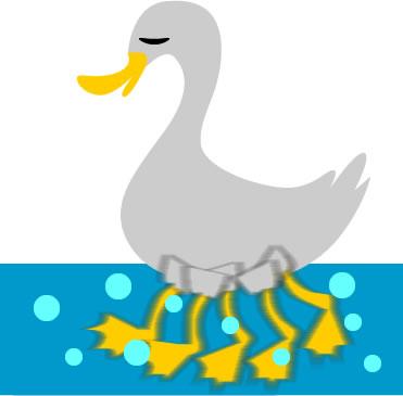 水面下で必死で泳ぐ水どりのイラスト | フリーイラスト素材 変な絵.net