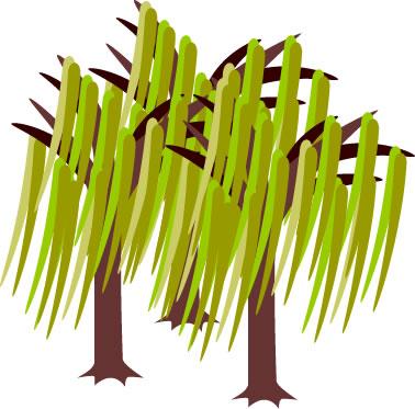 柳の木のイラスト フリーイラスト素材 変な絵net